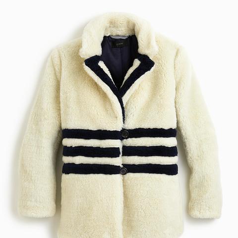 The Teddy Coat in Striped Plush Fleece