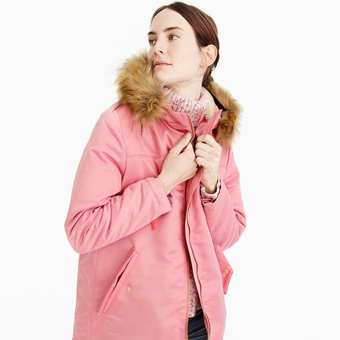 Pink Parka With Quilted Lining