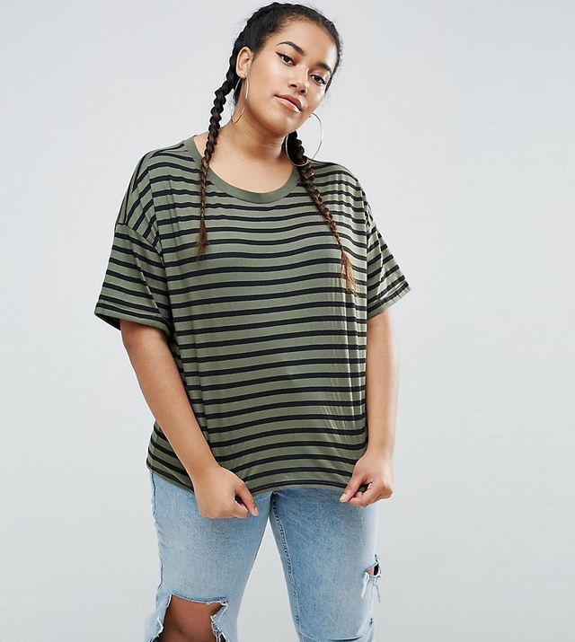 ASOS CURVE Stripe T-Shirt With Roll Sleeve