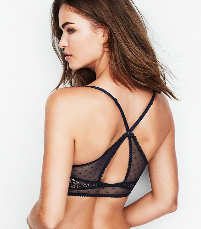 Victoria's Secret Push-Up Bralette in Classic Navy Smooth With Point Back