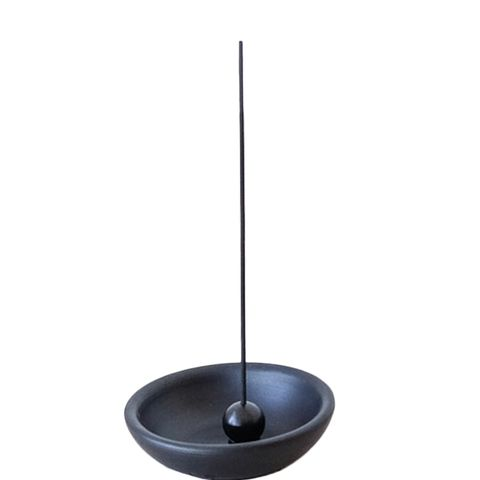 Black Clay Dish With Incense Holder