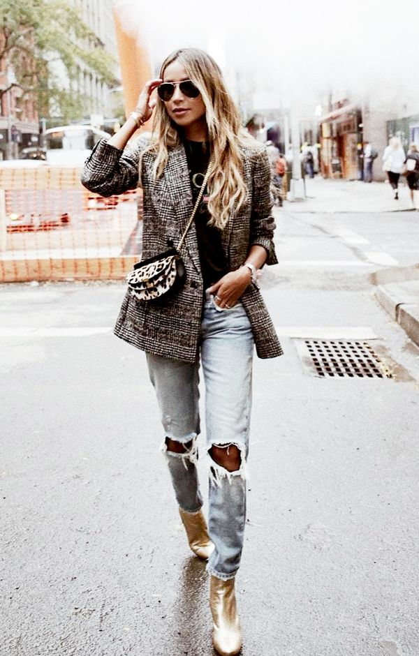 Check Blazer + Leopard Bag + Metallic Boots
