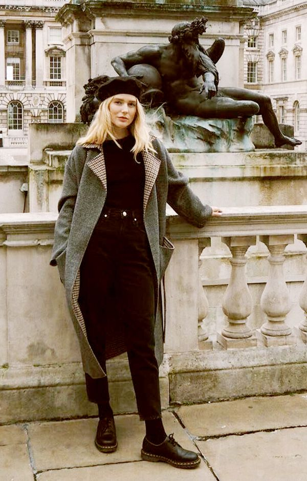 Check Coat + Beret + Chunky Shoes