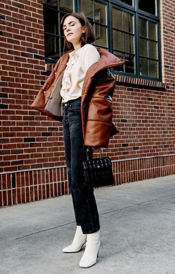 Puffer Jacket + Ruffle Blouse + White Boots