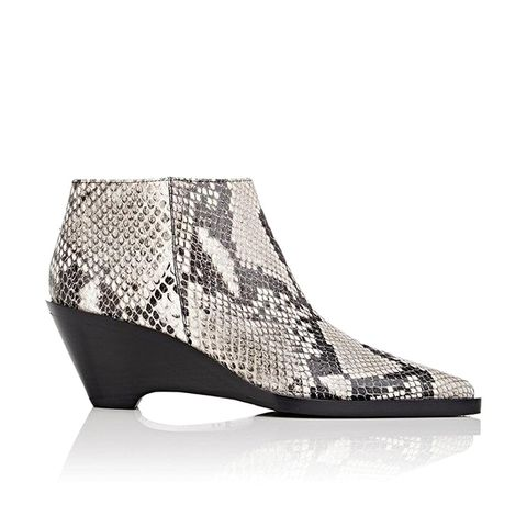 Cammie Snakeskin-Stamped Leather Ankle Boots