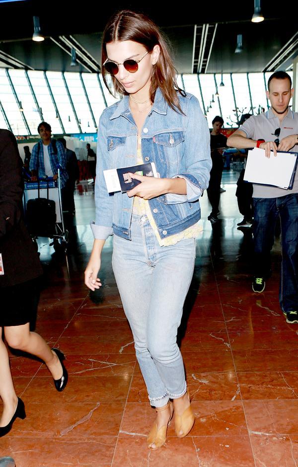 On Emily Ratajkowski:Levi'sOriginal Trucker Jacket ($130) RE/DONE | Levi's jeans.