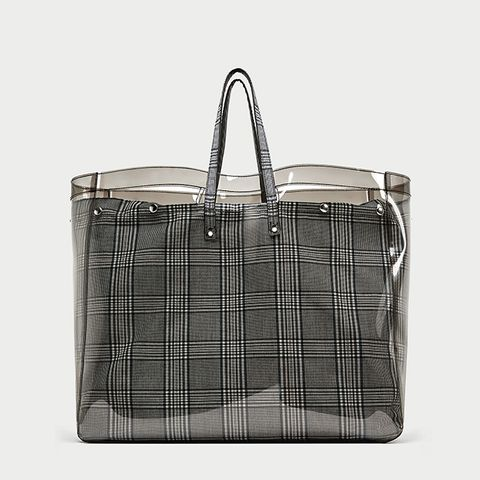 Checked Vinyl Tote Bag