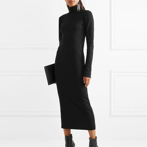 Wool and Cotton-Blend Jersey Turtleneck Midi Dress