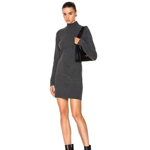 Denim Turtleneck Long Sleeve Dress