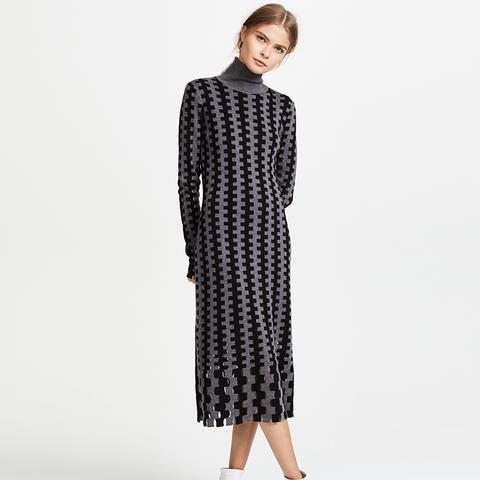 Turtleneck Knit Midi Dress