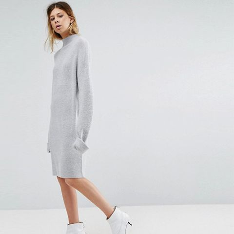 Knitted Dress With Turtleneck in Fluffy Rib
