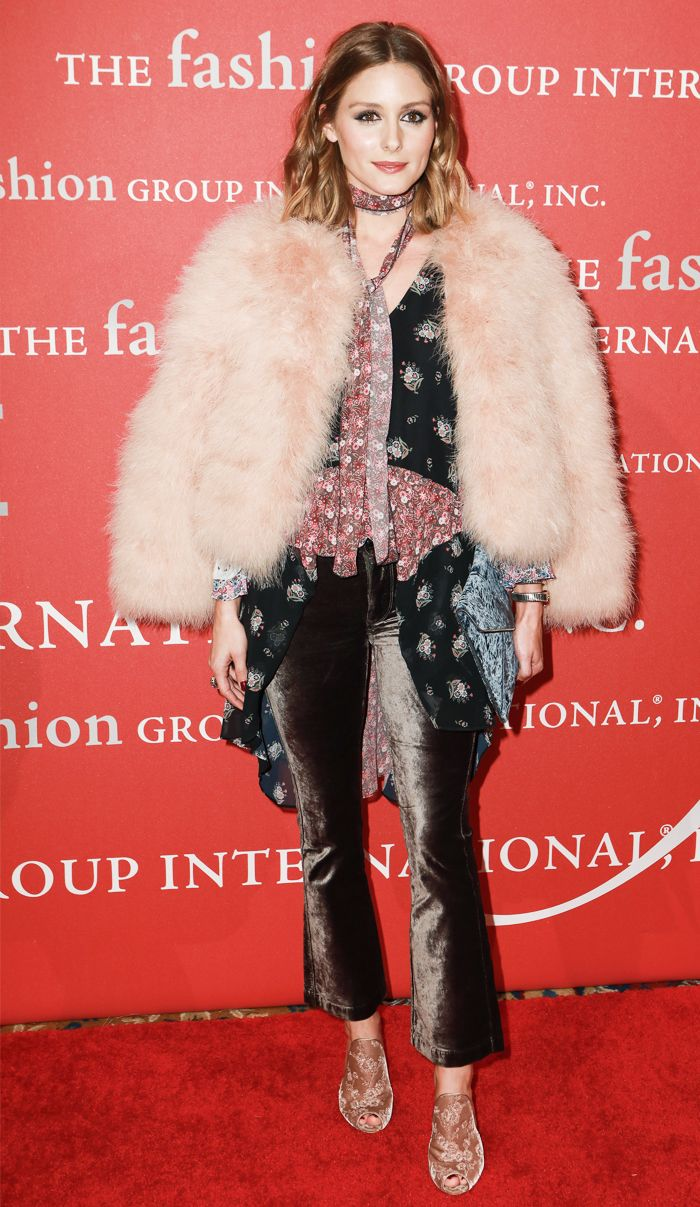 Olivia Palermo party outfit: Velvet Trousers and Fur Coat