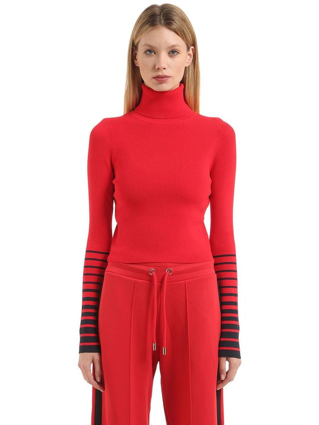 STRIPED SLEEVES CROP SWEATER GIGI HADID