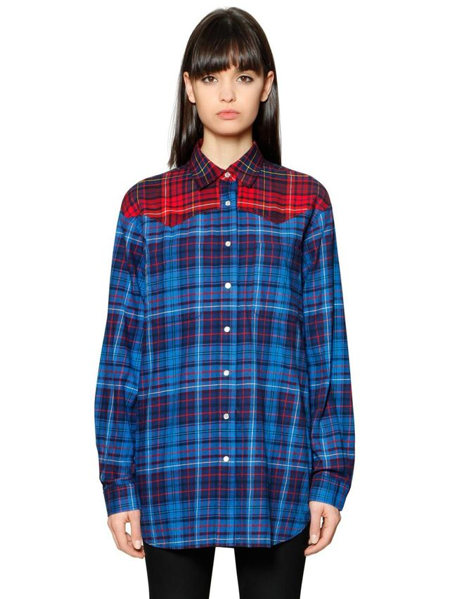 PLAID COTTON FLANNEL SHIRT GIGI HADID