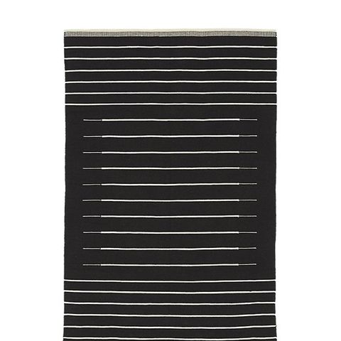 Black with White Stripe Rug
