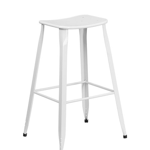 High White Metal Indoor-Outdoor Saddle Comfort Barstool
