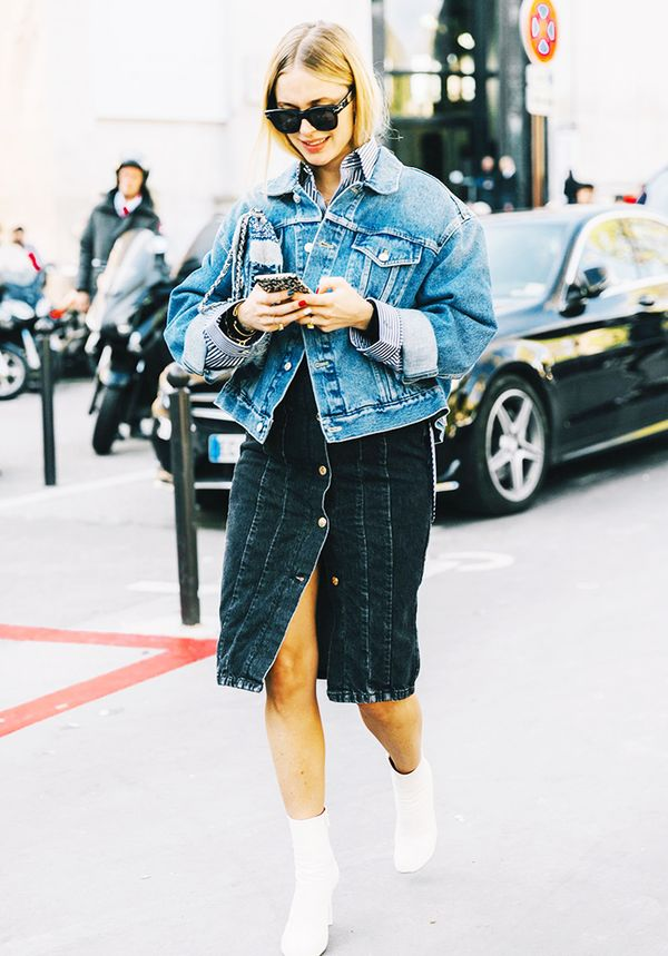 Jean Jacket + Jean Skirt + Ankle Boots