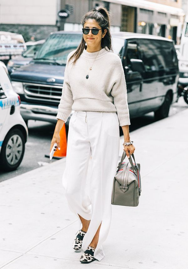 Knit Sweater + White Pants + Statement Loafers