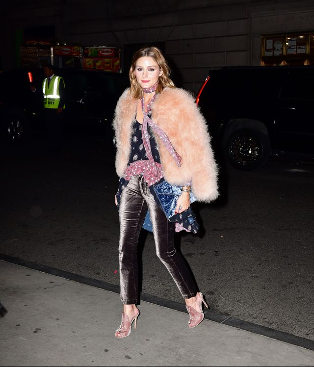 Olivia Palermo street style wearing velvet, pink fur jacket.