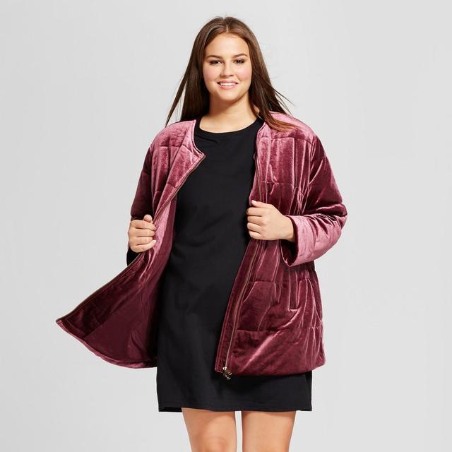 Plus Size Quilted Velvet Bomber Jacket