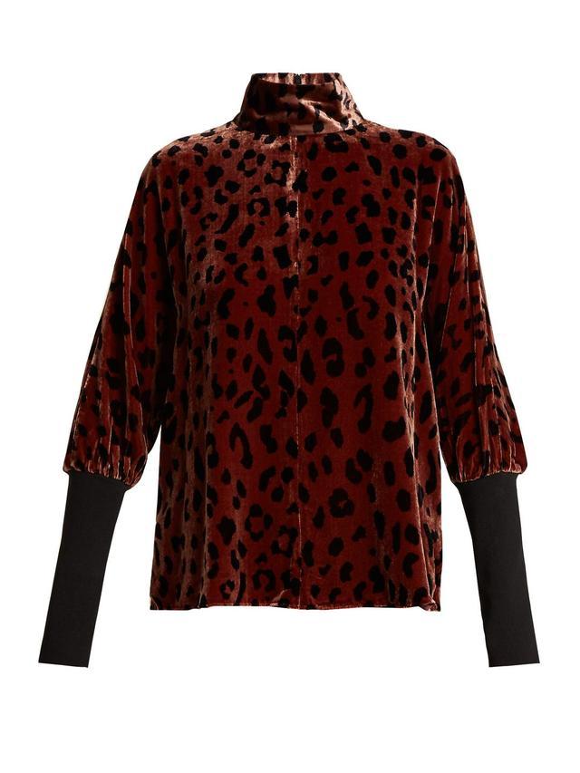 Cheetah-print velvet top