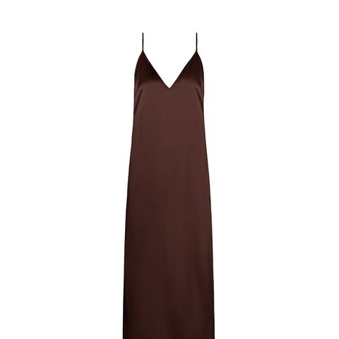 V-Neck Silk-Satin Midi Slip Dress