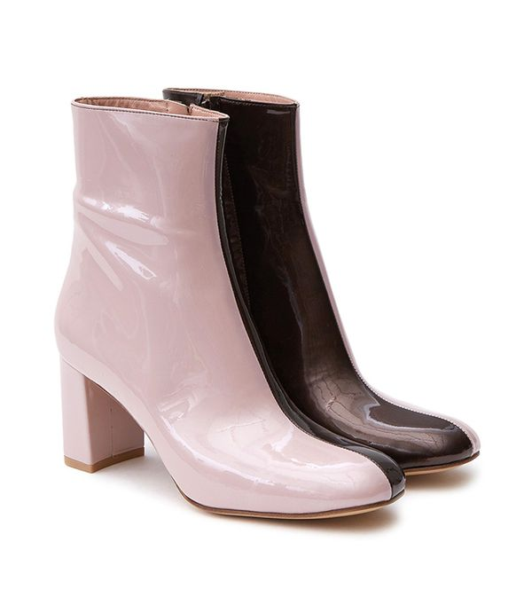 Agnes Boot in Champagne Pink/Tar Patent