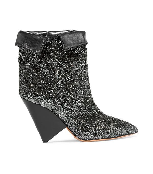 Luliana Glittered Metallic Leather Ankle Boots