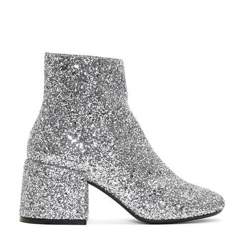 Silver Glitter Block Heel Boots