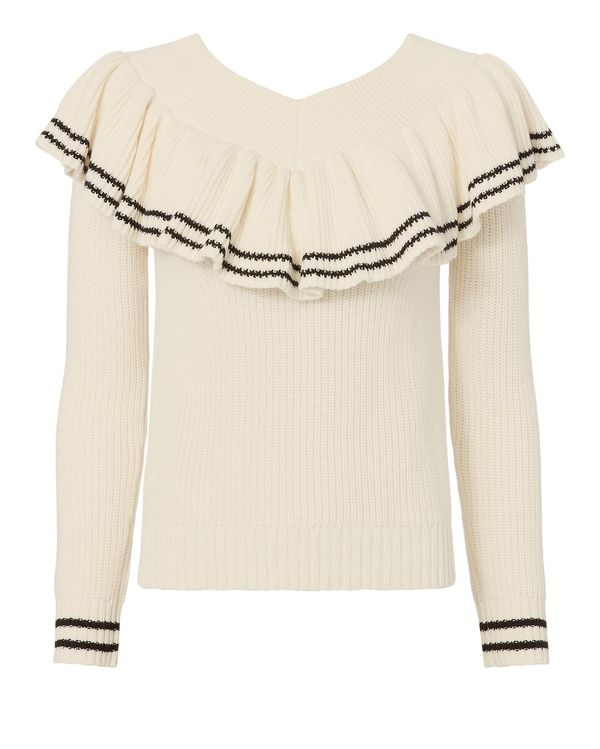 Self-Portrait Off Shoulder Striped Knit Sweater White S