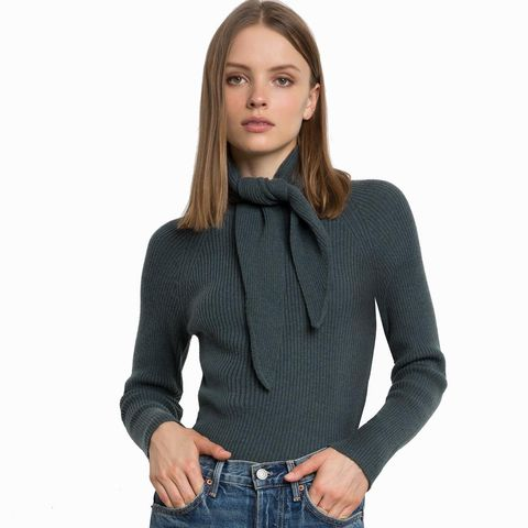 Mansfield Neck Scarf Tie Sweater