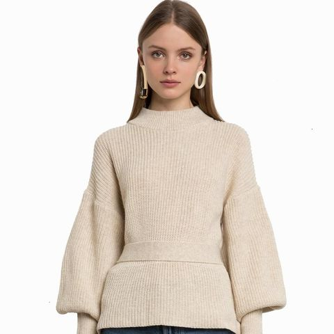 Ivory Belted Valloon Sleeve Sweater