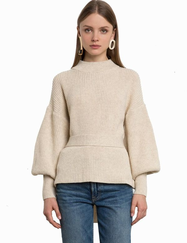 IVORY BELTED BALLOON SLEEVE SWEATER