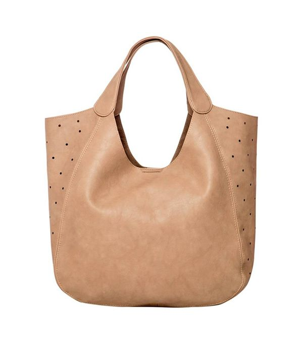'Masterpiece' Perforated Vegan Leather Tote - Grey