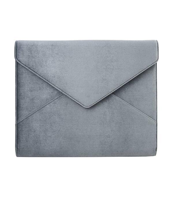 Powder Velvet Laptop Clutch - Blue