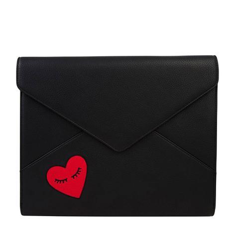 Fancy Heart Faux Leather Laptop Clutch