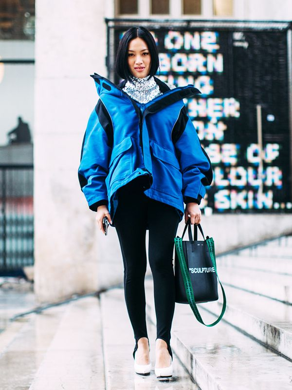 Balance a bulky outerwear layer with leggings.