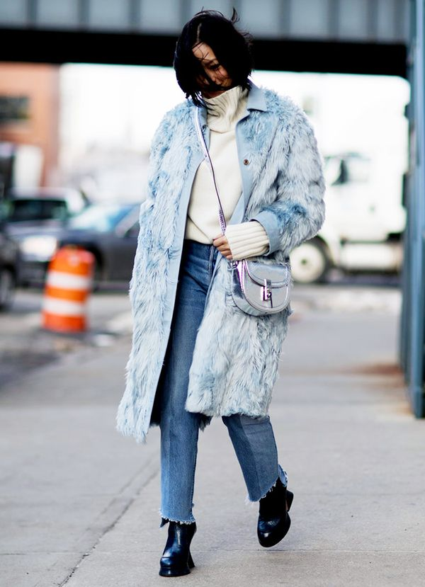 Practice tonal dressing with a long textured coat.