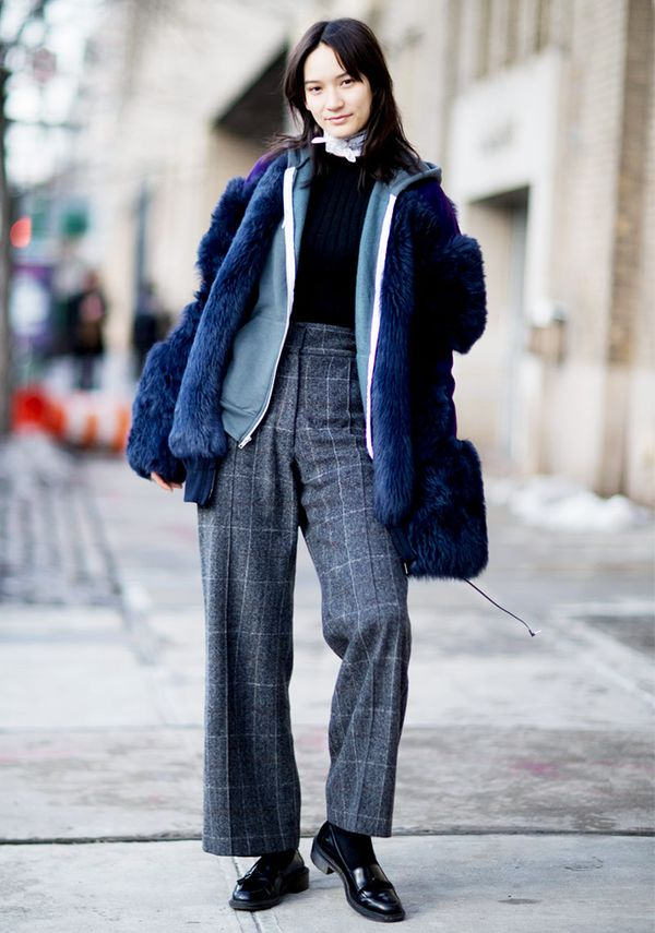 High-waisted wool slacks are a sophisticated cold-weather alternative to jeans.