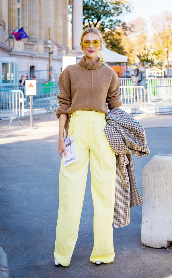 Try a turtleneck with wide-leg trousers in an unexpected color.