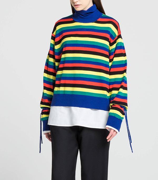 Women's JWA Oversize Turtleneck Sweater, Black, XS