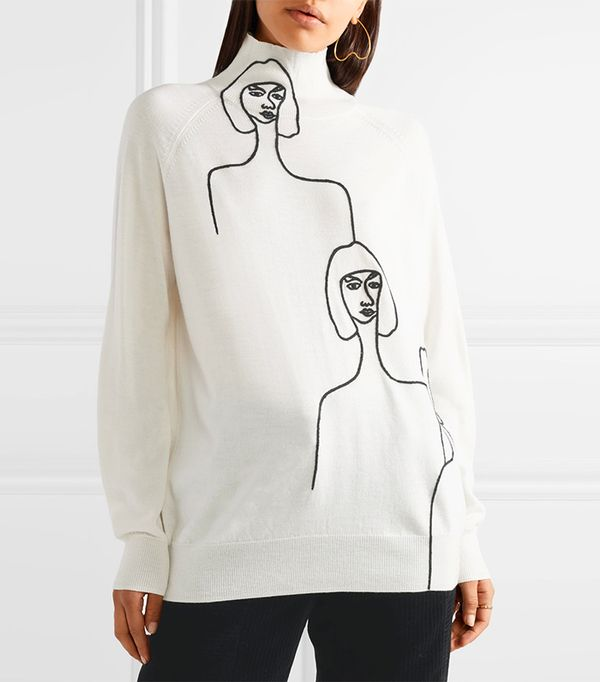 Embroidered Wool Turtleneck Sweater