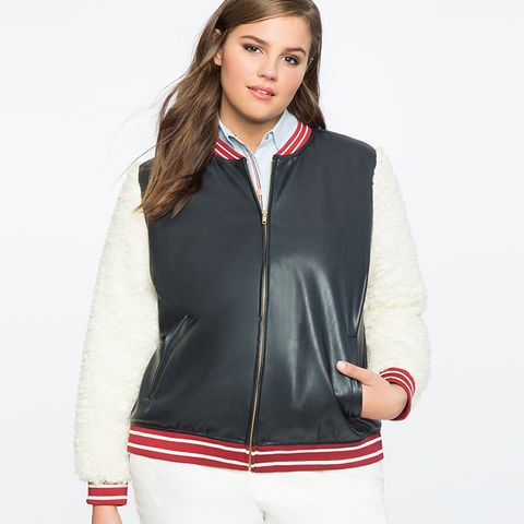 Faux Leather Shearling Bomber