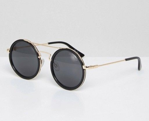 Round Sunglasses With Bar Detail