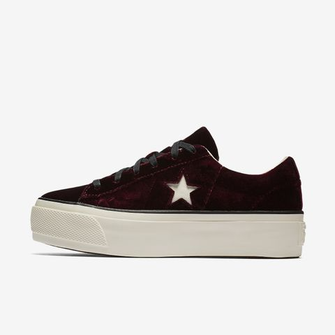 One Star Velvet Platform Low Top