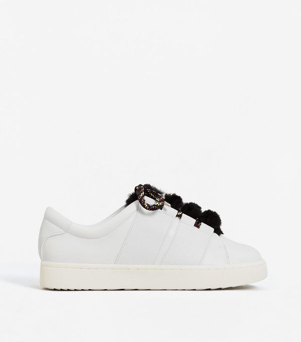 Fur lace-up sneakers