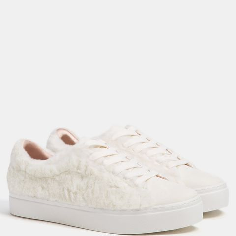 Lace-Up Faux-Fur Sneakers