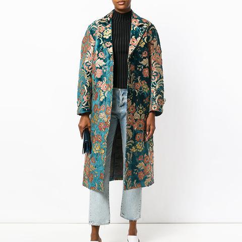 Oversized Floral Jacquard Coat