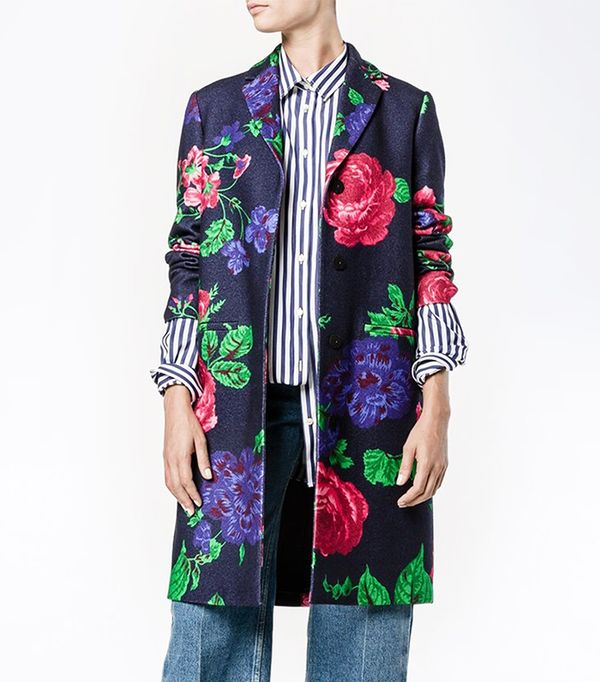 floral single breasted coat