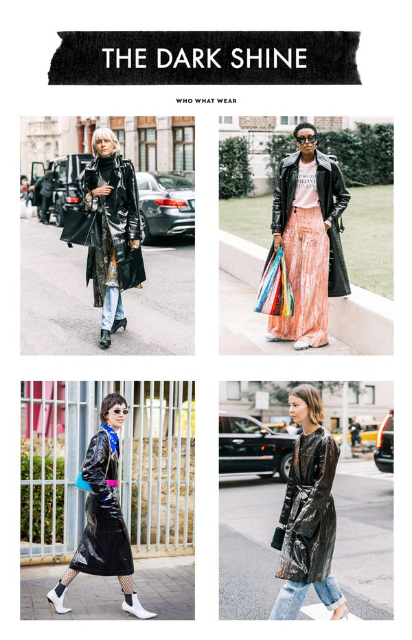 Patent leather coats were spotted all over the streets of fashion week and—as you can see here—look great layered over just about everything.